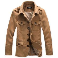 Men Long Sleeve Lapel Dark Grey Wool Coat M/L/XL/XXL @1807SJY02dg