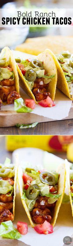 A little bit spicy and a little bit cool, these Bold Ranch Spicy Chicken Tacos have it all! Cool off from the spiciness of the chicken with the ranch taco shells. The creamy avocado sauce adds the perfect finish!: