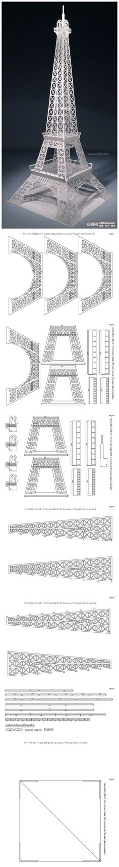 Eiffel tower paper model quinceanera pinterest for Eiffel tower model template