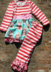 Gingerbread House 2pc. Top and Pants Set   boutique outfits, clothings sets, ruffles, boys, girls, easter baskets, two piece outfit, monogram, custom,