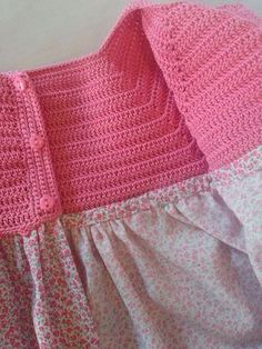 Crochet bodice for a toddler dress tutorial Crochet Dress Girl, Crochet Girls, Crochet Baby Clothes, Crochet For Kids, Knit Dress, Crochet Yoke, Crochet Clutch, Crochet Fabric, Dress Sewing Patterns