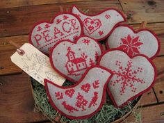 Christmas Cross Stitch Bowl Fillers/Ornaments