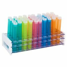 40 Piece Assorted Color Plastic Test Tube Set with Caps and Rack $16.99 - Thank you favors?