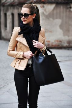 All black with a camel leather jacket