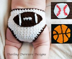 Ravelry: Sports Diaper Cover with Football, Baseball, and Basketball pattern by Darling Derriere Designs