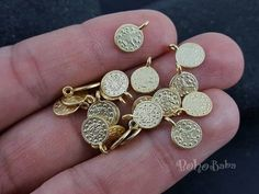 Buy Now 20 Pc Mini Coin Charms Gold Coins Turkish Jewelry. Gold Gold, Matte Gold, Turkish Jewelry, Rustic Jewelry, Coin Pendant, Silver Coins, Plaque, Jewelry Supplies, Mini