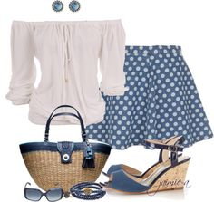 """""""Off The Shoulder Top & Polka Dot Skirt"""" by jaimie-a ❤ liked on Polyvore"""
