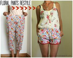 diy: lame pants to awesome shorts!!! @Bergann Hernandez can we please go to the thrift store and look for some sweeeet things to make stuff with!!!!! soooooon!! before your baby gets here and he holds us back. :]