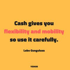 #FinancialWednesday #Yeihub #LeboGunguluza #CashIsKing #FinancialIntelligence #Money #FinancialPlanning #CashManagement Cash is king, so whatever money you make, try to retain as much of it as possible and use it to advance yourself or the company.