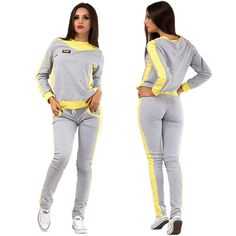 Stylish ladies gray & yellow sweatsuit #sweatsuit
