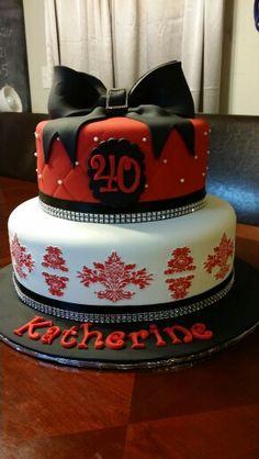 Red, black, white damask 40th birthday cake