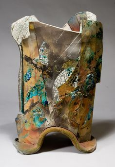 "Jim Romberg, Canyon Moon, 2005. Raku-fired ceramic, 26"" x 15"" x 8""."