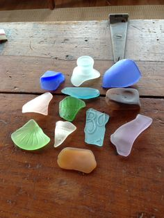 13 pieces gorgeous rare colors tumbled sea glass including Uranium/Vaseline glass