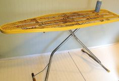 Crusty Rusty Yellow Enamel Metal Folding Table  by DivineOrders, $50.00