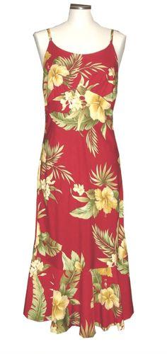 Ky's Red 100% Rayon Spaghetti Strap Aloha Dress
