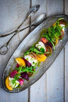 Keto Recipes, Heirloom tomato, beet and burrata salad with flavorful basil oil -- a simple and delicious recipe, the perfect salad for summer. Vegetarian Recipes, Cooking Recipes, Healthy Recipes, Beet Salad Recipes, Keto Recipes, Rice Recipes, Easy Recipes, Burrata Salad, Burrata Cheese