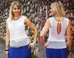 Blusa sin mangas crochet con espalda detalle
