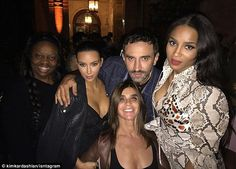 Fashion friends: The reality star posted pics with Givenchy creative director Riccardo Tisci, singer Ciara, Fashion editor Carine Roitfeld and British make-up artist Pat McGrath