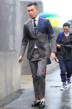 DOTS | Really BIG dots in this grey suit. Good for a change. Street style by Monsieur Jerome
