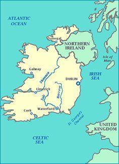Map of Ireland, United Kingdom, Northern Ireland, Celtic Sea