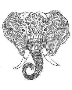 Attractive Printable Zen Critters Sun Elephant Coloring By TriciaGriffithArts