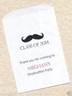 50 Graduation Mustache Stache Personalized Candy Buffet Party Favor Bags Personalized Candy, Party Favor Bags, Candy Buffet, Graduation, Mustache, Guy, Party Ideas, Moustache, Personalised Sweets