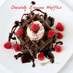 Thinking of a yummy breakfast or brunch dish? Here's the answer - CHOCOLATE BROWNIE WAFFLES. Fancy it as a dessert? No problem, just serve warm with some ice cream on top! #chocolate #brownie #waffles   #breakfast   #dessert