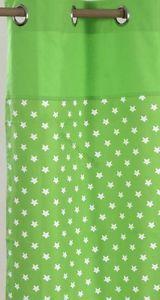 Green White Stars Heavyweight Cotton Eyelet Ring Top Polka Dot Curtains Pair | eBay