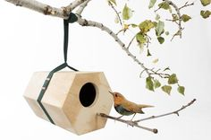 What a fun way to invite birds into your garden. They can also add pieces on, so you can have a whole bird village in your trees!