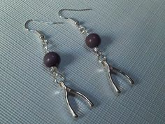 Lucky Wishbone Earrings Purple Jasper and Silver by Chersgifts,  Unique, Charming and FUN! Only found HERE! Perfect Gift or keep them for yourself!