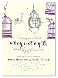 Birds in Love Plantable Wedding Invitations. Once upon a time, a boy met a girl and they fell in love