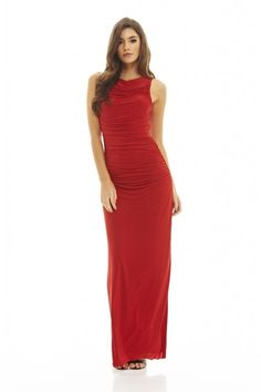 AX Paris Womens Red High Neck Ruched Maxi Dress Glamorous Stylish Fashion