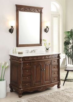 48 Benton Collection White Marble Top Florence Bathroom Vanity Mirror Set Model Bc 036w Tk Mir