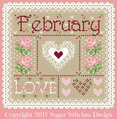 """Cross Stitch Borders """"February Monthly Sampler"""" counted cross-stitch pattern by Sugar Stitches Design. Xmas Cross Stitch, Cross Stitch Borders, Cross Stitch Samplers, Cross Stitch Charts, Counted Cross Stitch Patterns, Cross Stitch Designs, Cross Stitching, Cross Stitch Embroidery, Embroidery Patterns"""