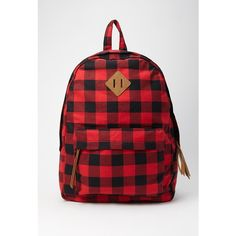 Forever 21 Classic Plaid Backpack ($25) ❤ liked on Polyvore featuring bags, backpacks, forever 21, woven backpack, red plaid backpack, strap bag and red backpack
