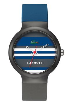 Lacoste 'Goa' Two Tone Stripe Silicone Strap Watch