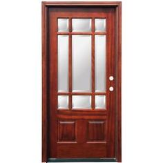 Pacific Entries, Craftsman 9 Lite Stained Mahogany Wood Entry Door, M39ML at The Home Depot - Mobile