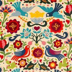 Tessuto laminato beige di Alexander Henry con colombe, fiori
