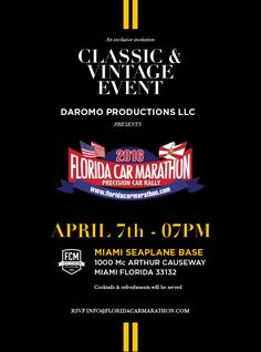 Cuervo y Sobrinos Official Timekeeper for the Florida Car Marathon 2016 Event Organization, Miami Florida, Marathon, Events, Amp, News, Marathons