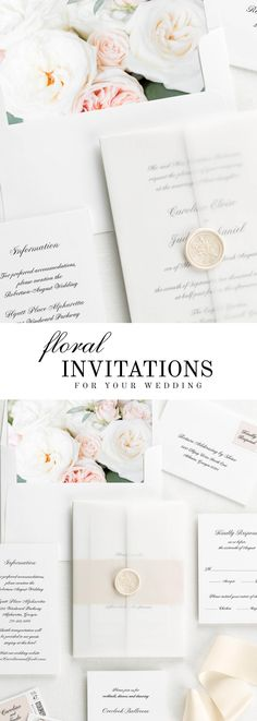 The Caroline wedding invitation suite is paired with Josephine florals. Josephine features white garden roses, silver dollar eucalyptus, and pink spray roses.
