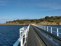 'Rock pool central!' quoted by previous pinner • Granite Island and causeway • Victor Harbor • South Australia • Adelaide's beaches