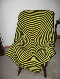 Round Bumblebee Afghan - Round Pittsburgh Steelers Afghan (Please Note- Ready to Ship). $40.00, via Etsy.