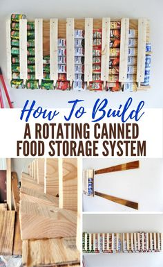 How To Build A Rotating Canned Food Storage System - This DIY project has to be by far the easiest and most clever way to build canned storage! If you have been looking for a way to store your canned food that takes up less space than just putting them on Food Storage Rooms, Canned Food Storage, Can Storage, Pantry Storage, Pantry Organization, Storage Ideas, Furniture Storage, Storage Stairs, Organized Pantry
