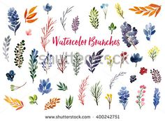 Collection of hand drawn watercolor floral elements: flowers, branches, leaves, wreaths, roses, berries. Can be used for print (home decor, posters, cards, stationery) and web (banners, advertisement) - stock photo