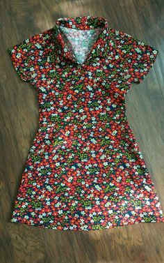 Womens Vintage Mini Dress Mod Hippie Boho Bohemian Floral Poly Blend Handmade