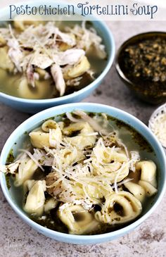 Pesto Chicken Tortellini Soup ~ Fast and easy soup for busy families using Gold'n Plump Pesto Seasoned Whole Chicken!