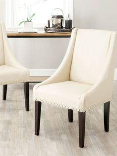 Britannia  Side Chairs (Set of 2) by Safavieh on Gilt Home  Measures 23.6 inches in width by 24.8 inches in depth by 38.6 inches in height