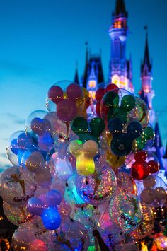 Magical balloons! Read my Disney balloon memory from my Cast Member days at the Magic Kingdom!  Balloons in front of Cinderella Castle, Walt Disney World
