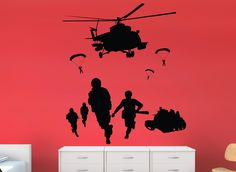Army Men Helicopter Scene Wall Art Sticker  Perfect for little or teen boys bedrooms, wardrobes, doors or any smooth flat surface & are precision cut from high quality matt finished ultra-thin vinyl, they look stunning & appear as though they are painted onto the surface.  Any colour & available sizes: *Small - 25cm x 22cm *Medium - 43cm x 38cm *Large - 50cm x 44cm *X Large - 64cm x 56cm * larger or custom made sizes on request…
