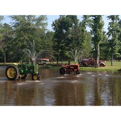 Cool water feature using old tractors